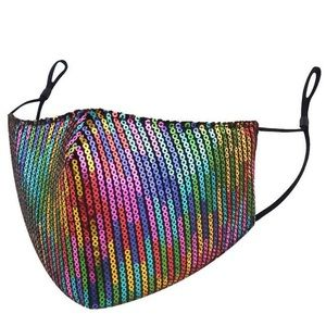 Rainbow Sequin Face Mask with Adjustable Straps